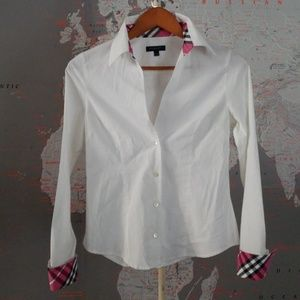 Tops - Burberry Check Collared Dress Shirt White Sz Small